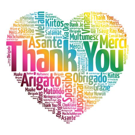 Dziękuję Love Word Serce Word w różnych językach, koncepcji tła Ilustracje wektorowe