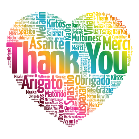 Thank You Love Heart Word Cloud in different languages, concept background Çizim