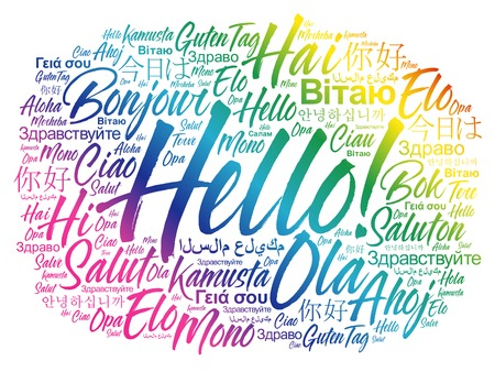 Hello word cloud in different languages of the world, background concept  イラスト・ベクター素材