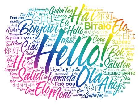 こんにちは、世界のさまざまな言語の単語の雲、背景の概念  イラスト・ベクター素材