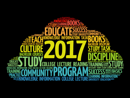 2017 Education word cloud business collage, concept background Illustration