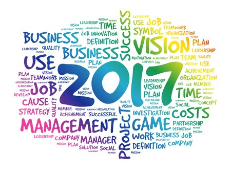 set the intention: 2017 Goals word cloud business concept background Illustration