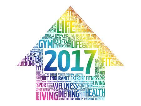 2017 Goals arrow health word cloud, health arrow concept