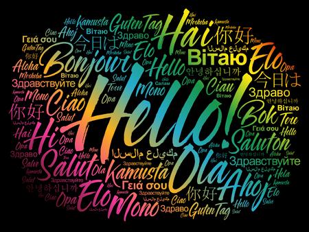 Hallo word cloud in verschillende talen van de wereld, achtergrond, concept