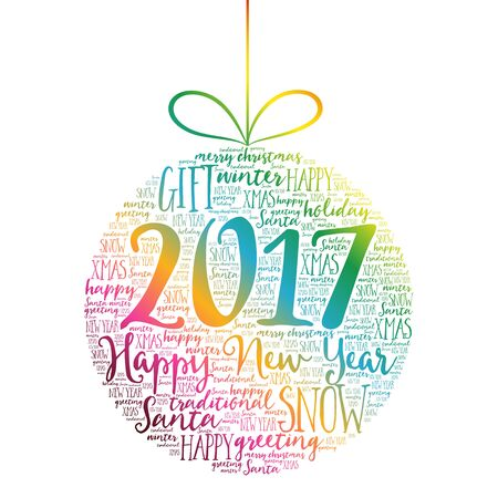 Happy New Year 2017, Christmas ball word cloud, holidays lettering collage Illustration