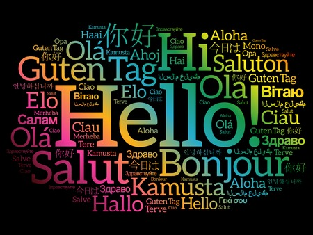 multinational: Hello word cloud in different languages of the world, background concept Illustration
