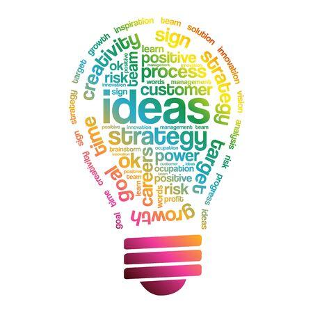 improving: Ideas Sphere Bulb Words Cloud, business concept Illustration