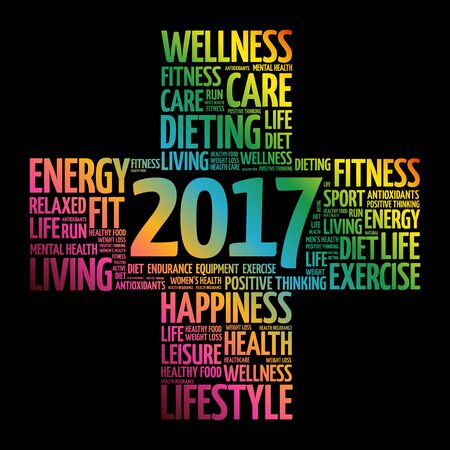 care providers: 2017 Goals Health word cloud, health cross concept