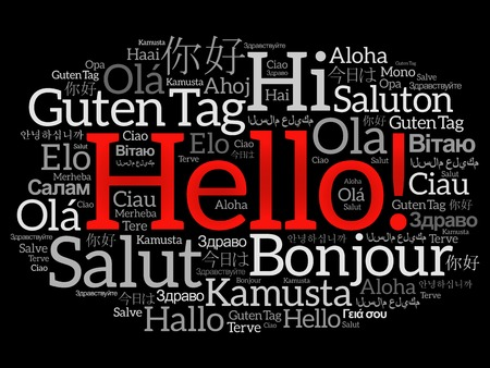meet and greet: Hello word cloud collage in different languages of the world, background concept Illustration