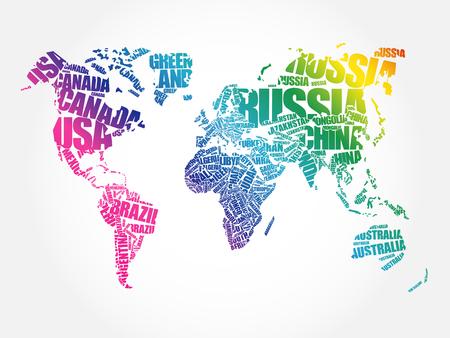 Weltkarte in Typographie Wort Cloud-Konzept, die Namen der Länder Standard-Bild - 66149220