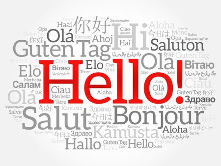 dialect: Hello word cloud collage in different languages of the world, background concept Illustration