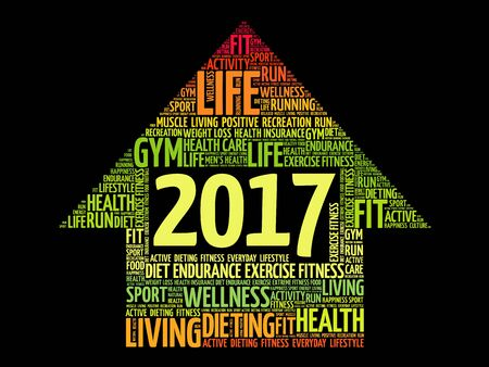 reminder: 2017 Goals arrow health word cloud, health arrow concept