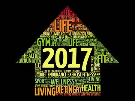 care providers: 2017 Goals arrow health word cloud, health arrow concept