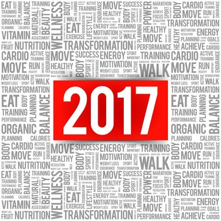 2017 Nube de la palabra del collage, el concepto de salud de fondo Ilustración de vector