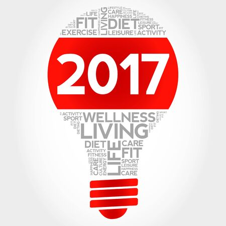 new years resolution: 2017 health goals bulb word cloud, health concept background Illustration