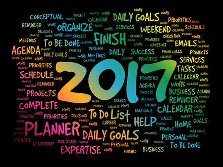 2017 Goals word cloud business concept background Illustration