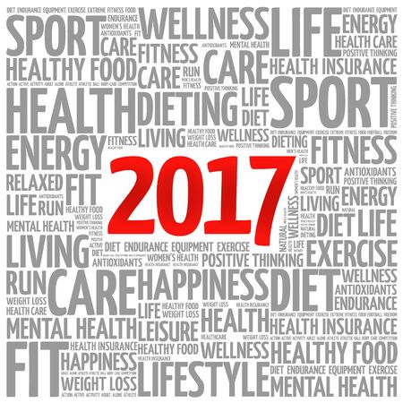 new years resolution: 2017 word cloud collage, health concept background