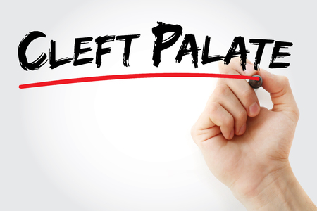 palate: Hand writing Cleft palate with marker, concept background Stock Photo