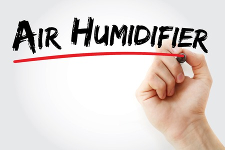 humidify: Hand writing Air humidifier with marker, concept background