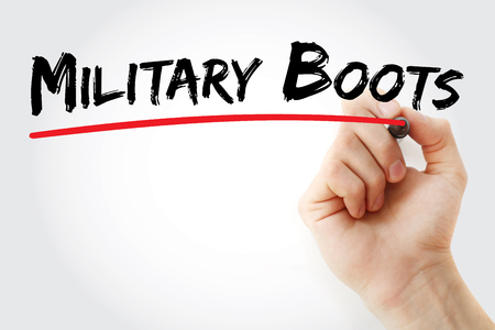 uniform green shoe: Hand writing Military boots with marker, concept background Stock Photo