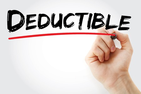 Hand writing Deductible with marker, concept background Stock Photo