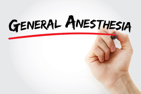 medical ventilator: Hand writing General anesthesia with marker, concept background