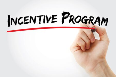 programs: Hand writing Incentive program with marker, concept background Stock Photo