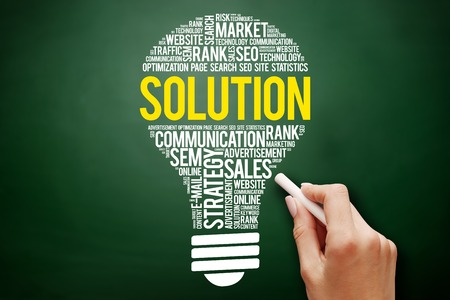 SOLUTION bulb word cloud collage, business concept on blackboard