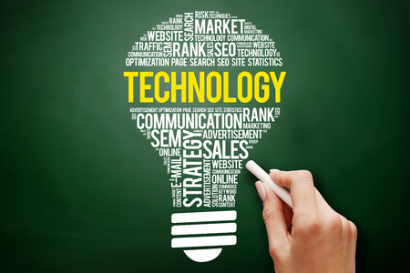 TECHNOLOGY bulb word cloud collage, business concept on blackboard Stock Photo