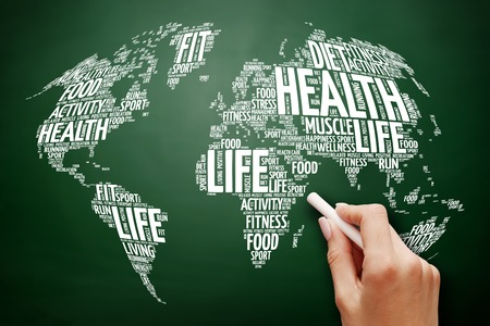 Health and Life World Map in Typography, sport, health, fitness word cloud , health concept on blackboard