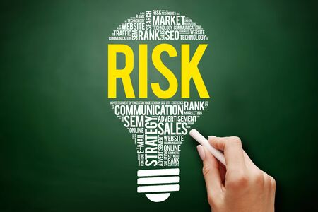 quantitative: RISK bulb word cloud collage, business concept on blackboard