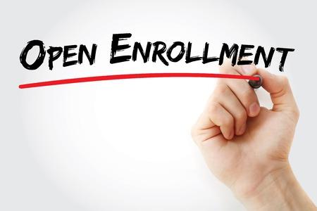 Hand writing Open enrollment with marker, concept background Foto de archivo