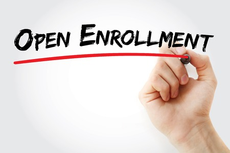 Hand writing Open enrollment with marker, concept background Imagens