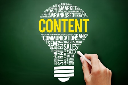 meta data: CONTENT bulb word cloud collage, business concept on blackboard Stock Photo
