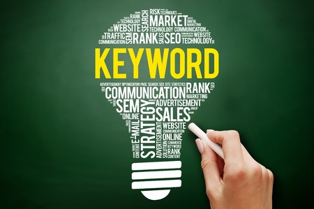 KEYWORD bulb word cloud collage, business concept on blackboard Stock Photo