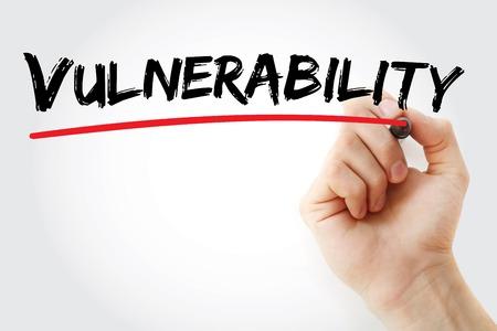 Hand schrijven Vulnerability met marker, concept achtergrond Stockfoto