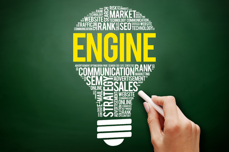 ENGINE bulb word cloud collage, business concept on blackboard