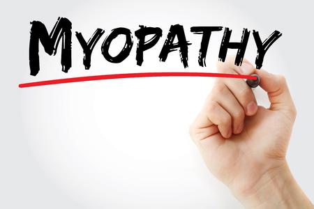 myopathy: Hand writing Myopathy with marker, concept background Stock Photo