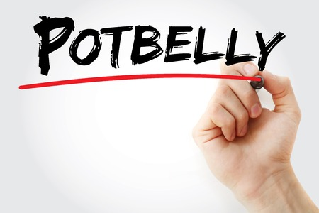 potbelly: Hand writing Potbelly with marker, concept background