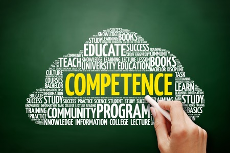 technologys: COMPETENCE word cloud, education concept on blackboard