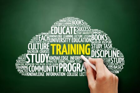 situational: TRAINING word cloud, education concept on blackboard Stock Photo