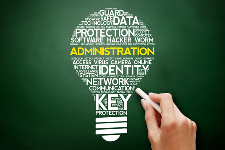 vulnerabilities: ADMINISTRATION bulb word cloud collage, business concept on blackboard