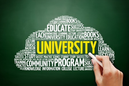 master degree: UNIVERSITY word cloud, education concept on blackboard