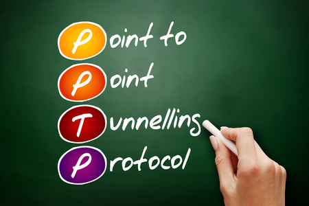 Hand drawn PPTP Point to Point Tunnelling Protocol, acronym concept on blackboard Stock Photo