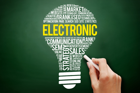 ELECTRONIC bulb word cloud collage, business concept on blackboard