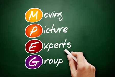 mpg: Hand drawn MPEG Moving Picture Experts Group, acronym concept on blackboard