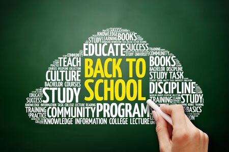 Back to School word cloud, education concept on blackboard
