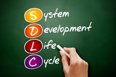 Hand drawn SDLC - System Development Life Cycle, acronym concept on blackboard Stock Photo