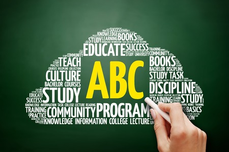 beginner: ABC word cloud, education concept on blackboard