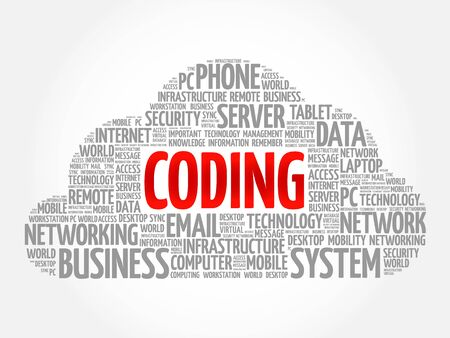 Coding word cloud concept Illustration